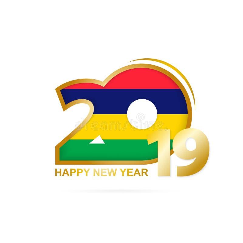 Ano 2019 com teste padrão de Mauritius Flag Projeto do ano novo feliz ilustração royalty free