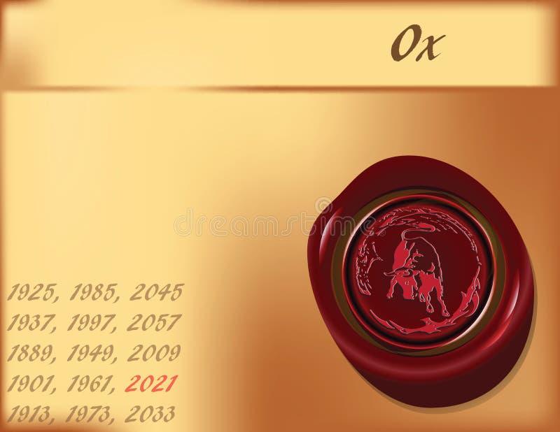 Ano do boi - fundo ilustração stock