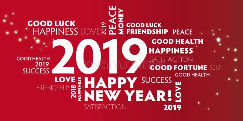 Ano 2019 do illustrationNew do vetor do cartão do ano novo feliz ilustração do vetor