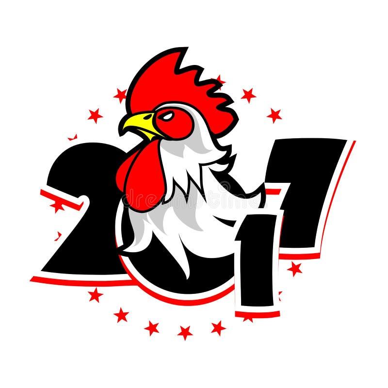 Ano do logotipo do galo ilustração do vetor