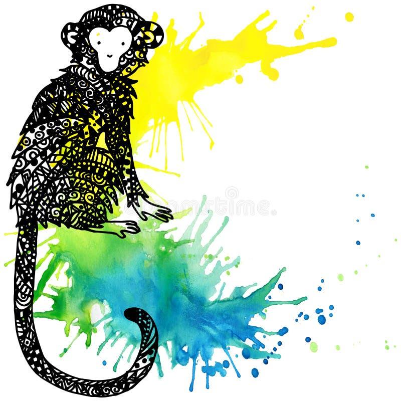 Ano do macaco Gráficos do macaco ilustração da textura do fogo de artifício da aquarela ilustração do vetor