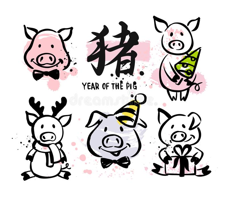 Ano do porco ilustração royalty free