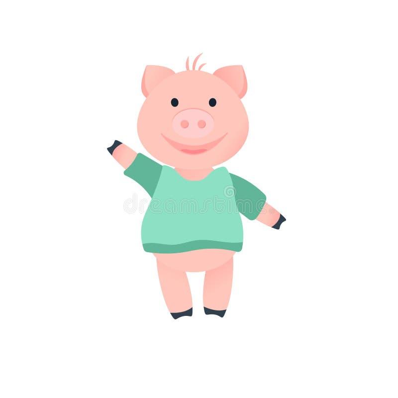 Ano do porco dos desenhos animados em 2019 animal ilustração do vetor