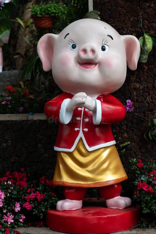 Ano do porco, figura 2019 feliz exterior chinesa da lanterna do ano novo fotografia de stock