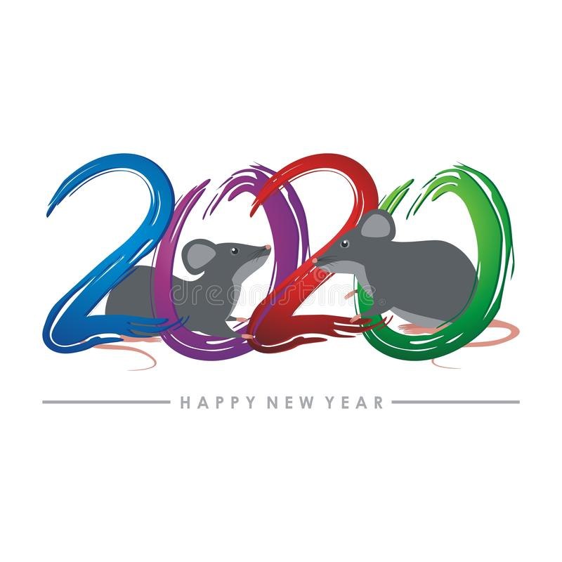 Ano do rato, projeto chinês do vetor do ano novo ilustração stock