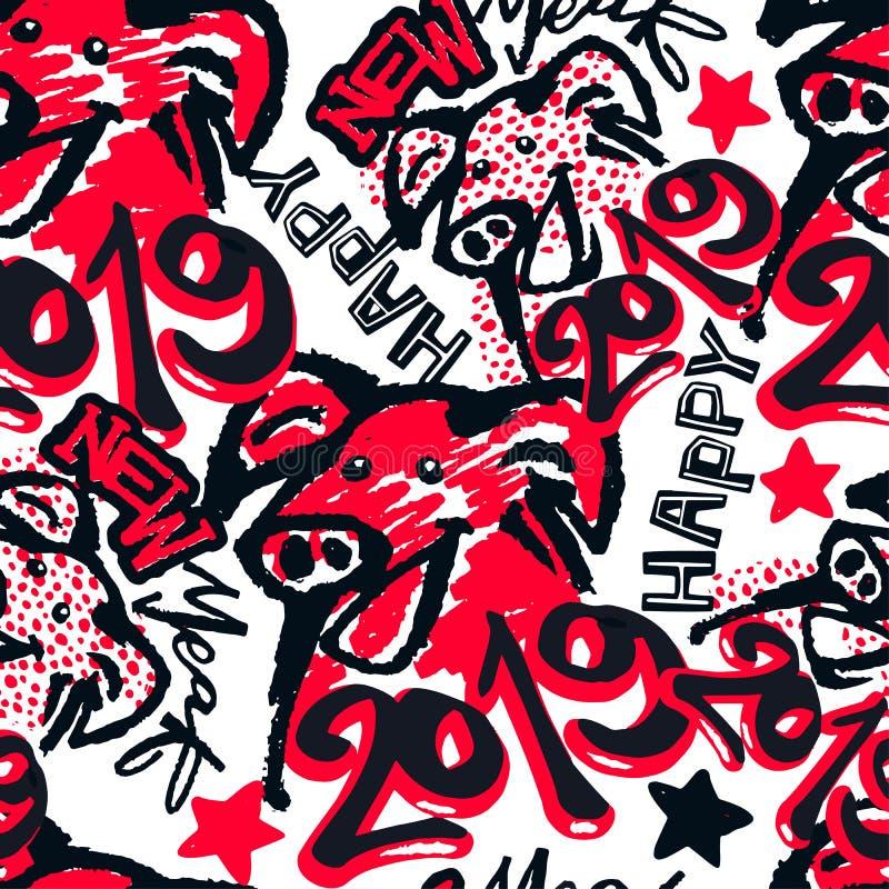 Ano do sinal do zodíaco de 2019 chineses de cópia funky do porco ilustração stock