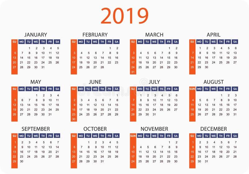 Ano horizontal do calendário do bolso 2019 Molde simples do vetor ilustração royalty free