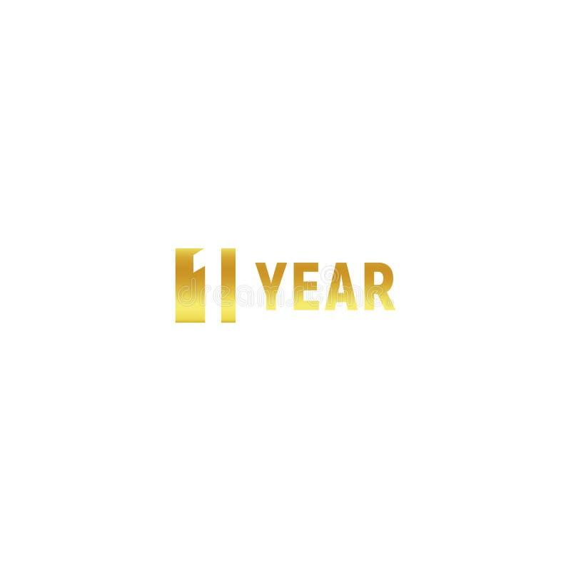 1 ano, logotipo do ouro do feliz aniversario no fundo branco, sinal minimalistic do vetor incorporado do aniversário, cartão ilustração royalty free