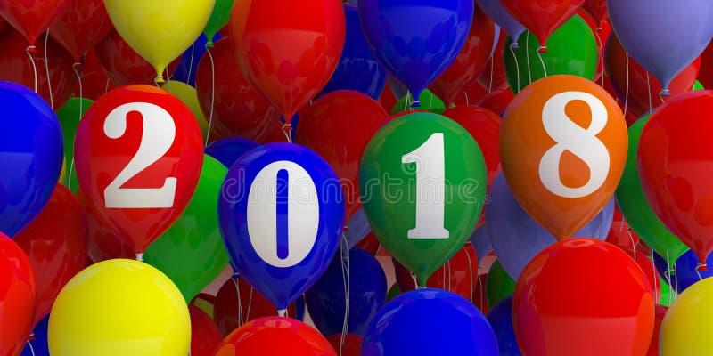Ano 2018 no fundo colorido dos balões ilustração 3D ilustração royalty free