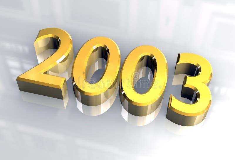 Ano novo 2003 no ouro (3D) ilustração royalty free