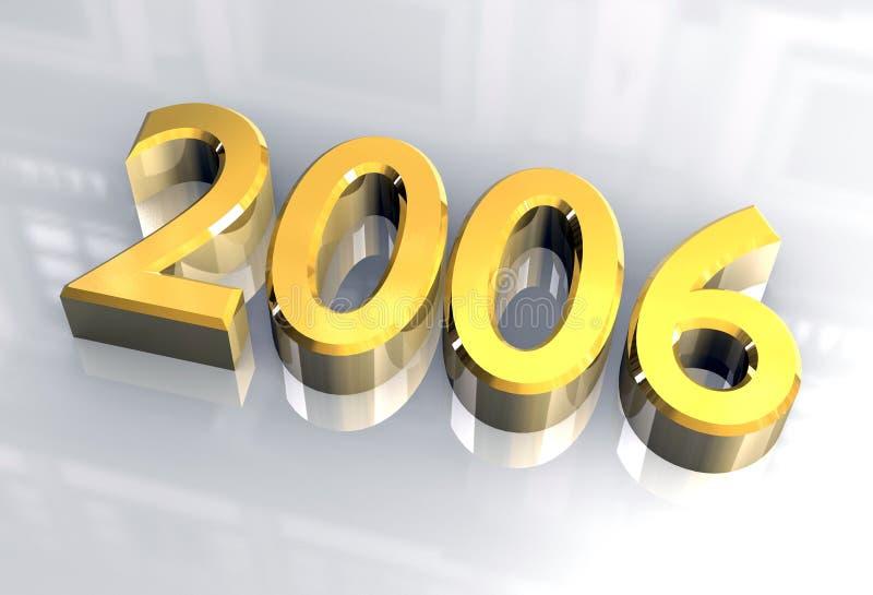 Ano novo 2006 no ouro (3D) ilustração stock