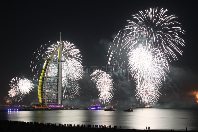 Ano novo branco em Dubai fotografia de stock royalty free