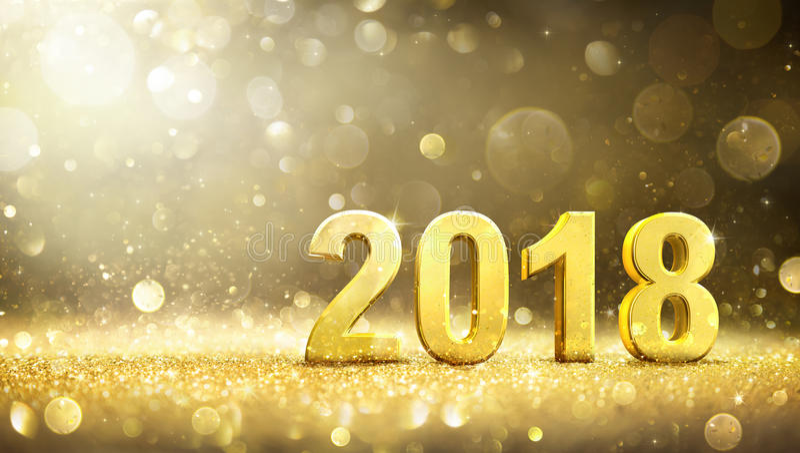 2018 - Ano novo - cartão dourado foto de stock royalty free