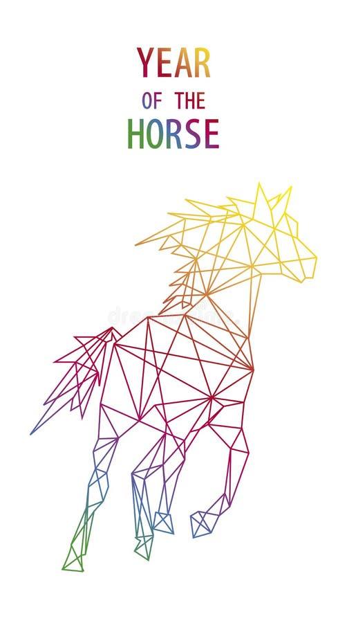 Ano novo chinês do arquivo da fôrma do triângulo do sumário do cavalo. ilustração do vetor