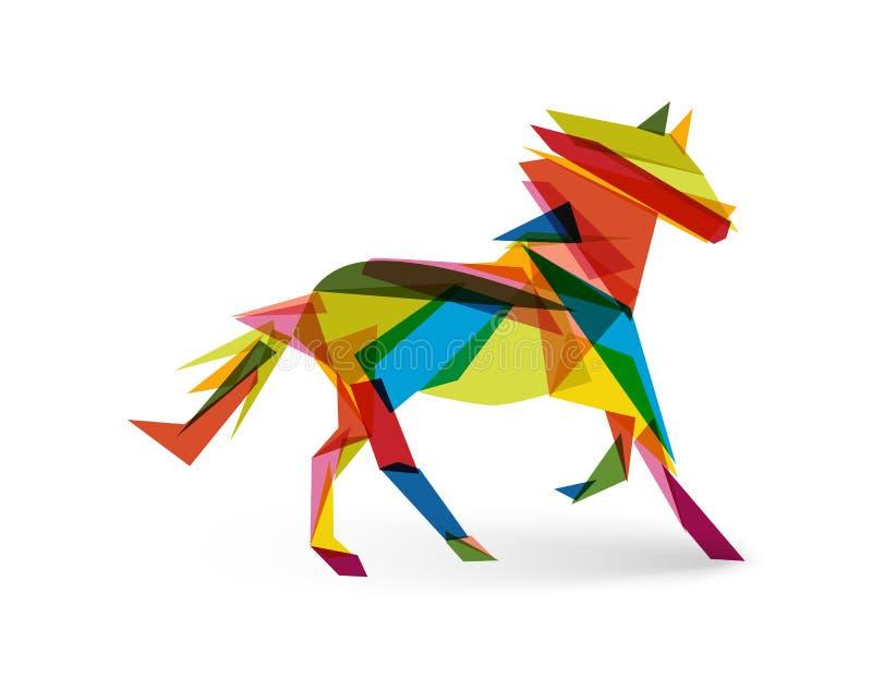 Ano novo chinês do arquivo do triângulo EPS10 do sumário do cavalo. ilustração do vetor
