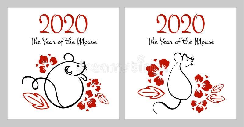 Ano novo chinês 2020 dois moldes da cópia Ilustração tirada mão da escova do esboço do vetor com ratos e flores ilustração do vetor