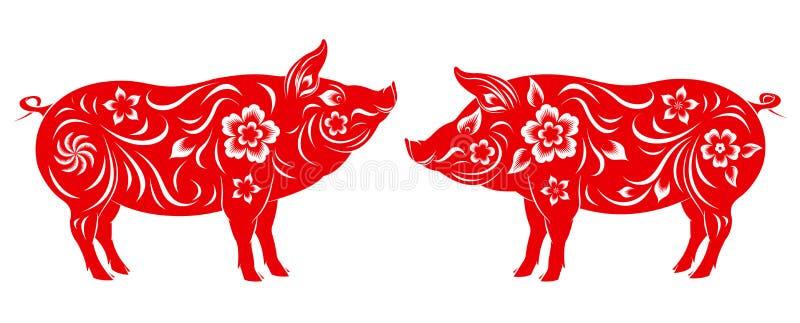 Ano novo chinês feliz 2019 anos do porco ilustração royalty free