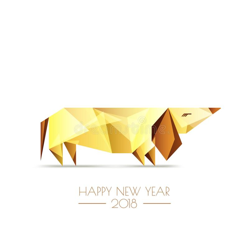 Ano novo chinês feliz 2018 Cartão do vetor ilustração royalty free