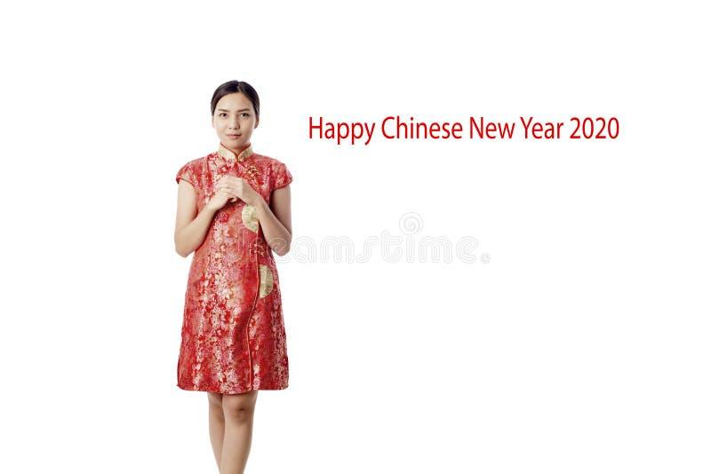ano novo chinês feliz da mulher asiática imagens de stock royalty free
