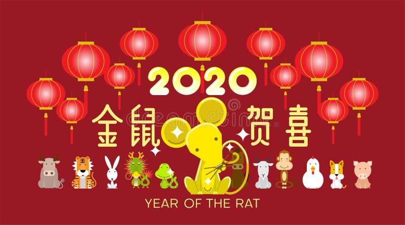 Ano novo chinês feliz 2020, ano do sinal do zodíaco do rato com caráteres chineses
