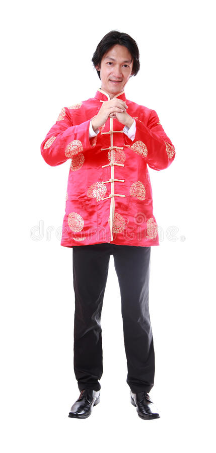 Ano novo chinês feliz Homem asiático novo com gesto do congratul imagens de stock royalty free