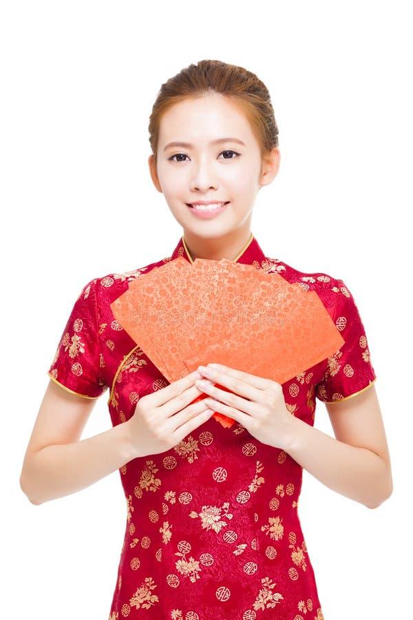 Ano novo chinês feliz Mulher asiática nova imagem de stock royalty free