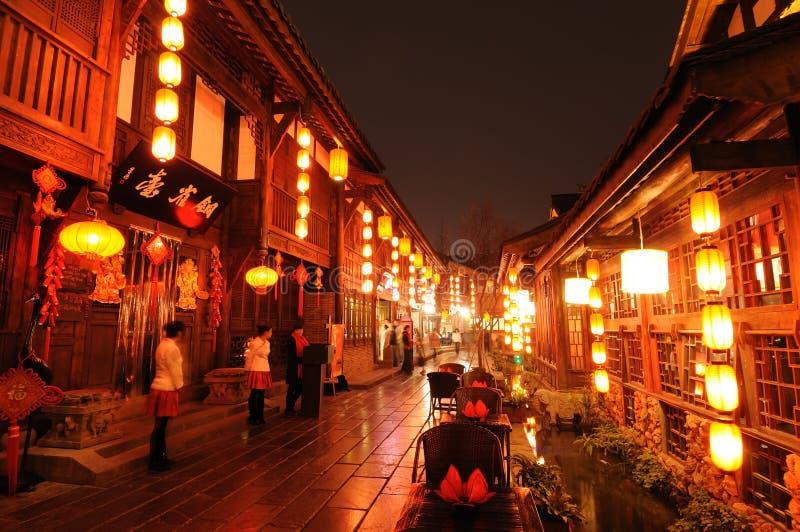 Ano novo chinês na rua velha de Jinli imagens de stock