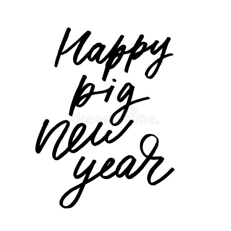 Ano novo chinês 2019 Porco do zodíaco Cartão do ano novo feliz, teste padrão, arte com cão Ilustração tirada do vetor do corte mã ilustração do vetor