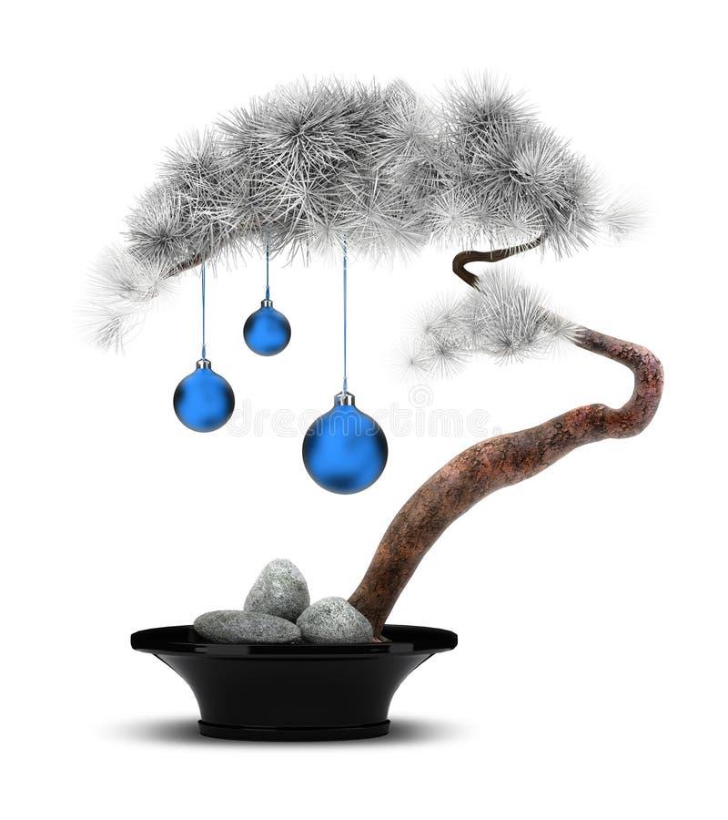 Ano novo chinês um pinho no hoarfrost ilustração stock