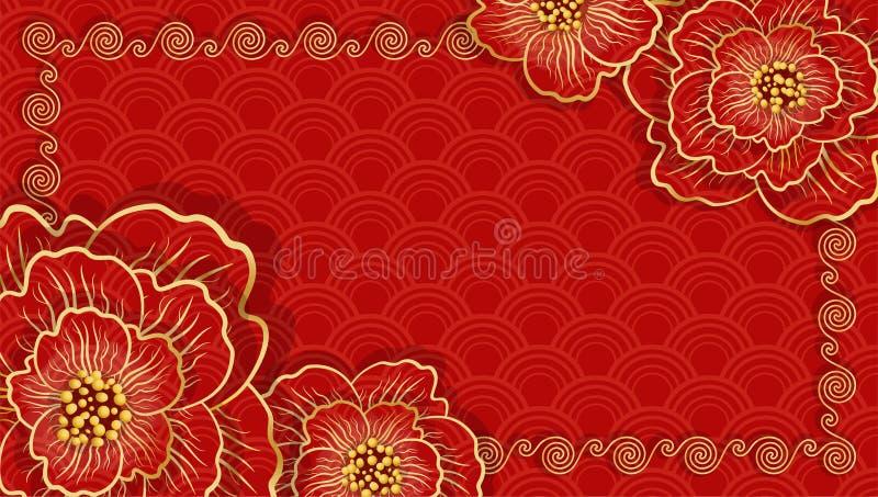Ano novo chin?s feliz Bandeira horizontal vermelha chinesa tradicional ilustração stock
