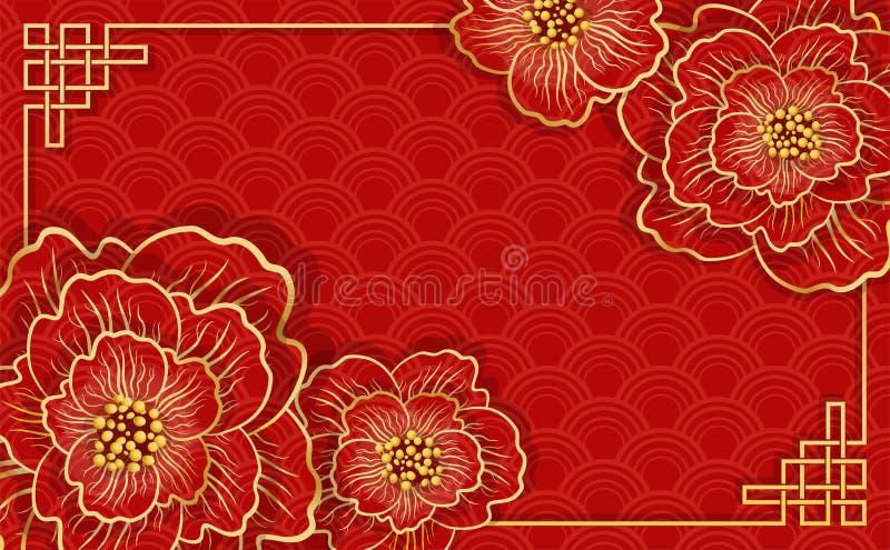 Ano novo chin?s feliz Bandeira vermelha chinesa tradicional ilustração royalty free