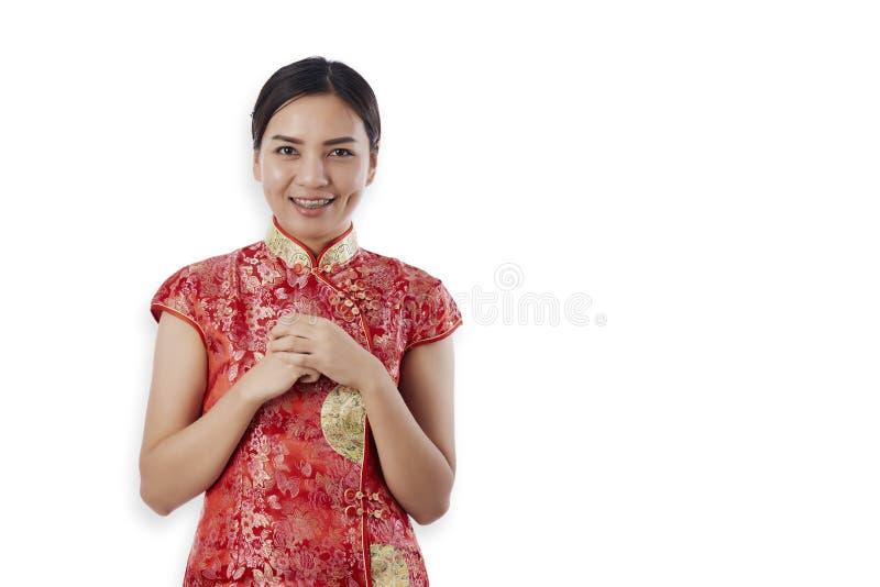 Ano novo chin?s feliz da mulher asi?tica bonita imagem de stock royalty free
