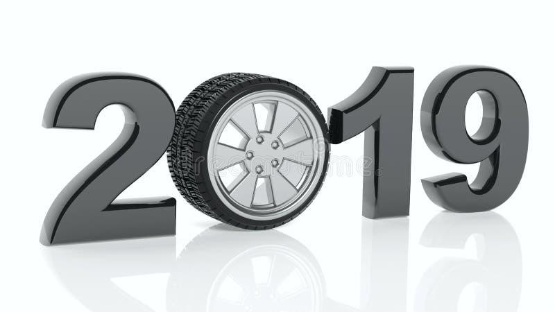 Ano novo 2019 com a roda do ` s do carro no fundo branco ilustração 3D ilustração do vetor