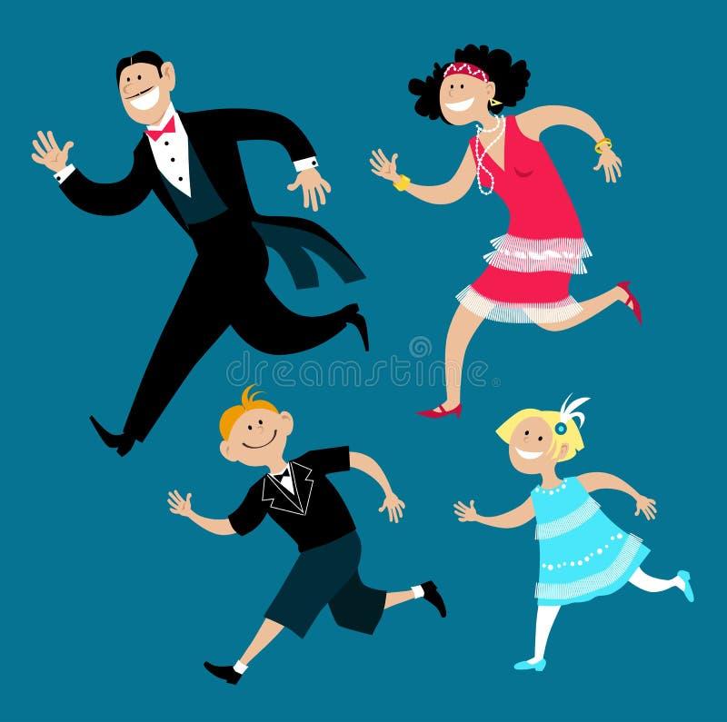 Ano novo da família estilo 20 ilustração stock