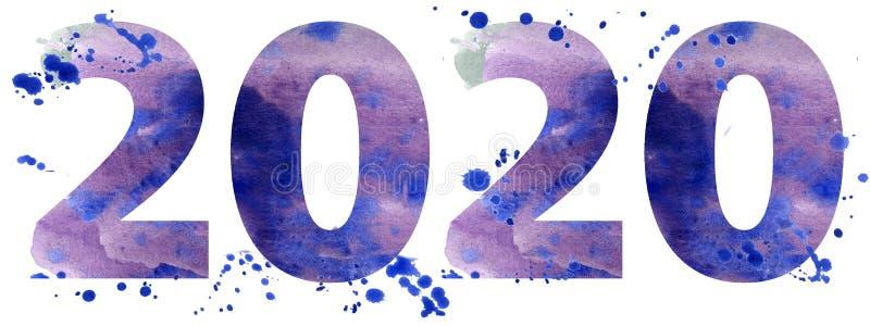 Ano novo da ilustração da aquarela dois mil e vinte ilustração do vetor