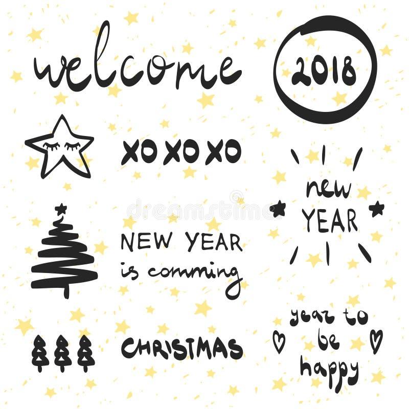 Ano novo 2018 da rotulação e da coleção decorativa dos elementos A ilustração do vetor ajustou-se para cartões, etiquetas, cartaz ilustração stock