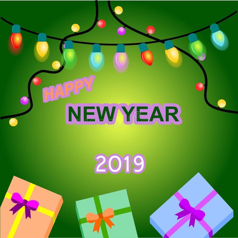 Ano novo das bolas da ampola com fundo da cor ilustração royalty free