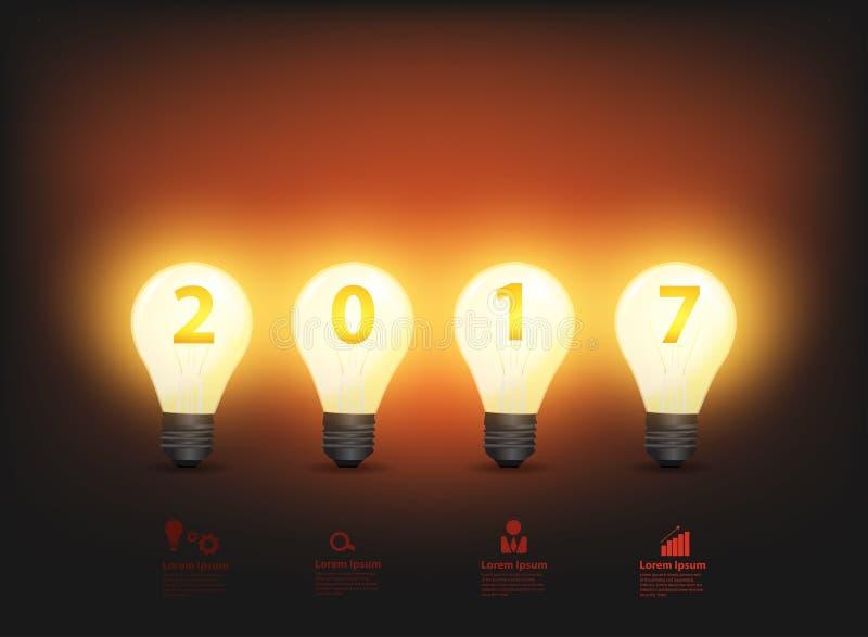 Ano novo 2017 das ideias da ampola do vetor ilustração royalty free