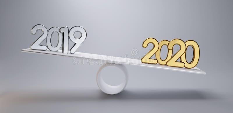 Ano novo 2019 de prata e 2020 dourado em uma luz da escala 3d-illustration - fundo cinzento ilustração stock