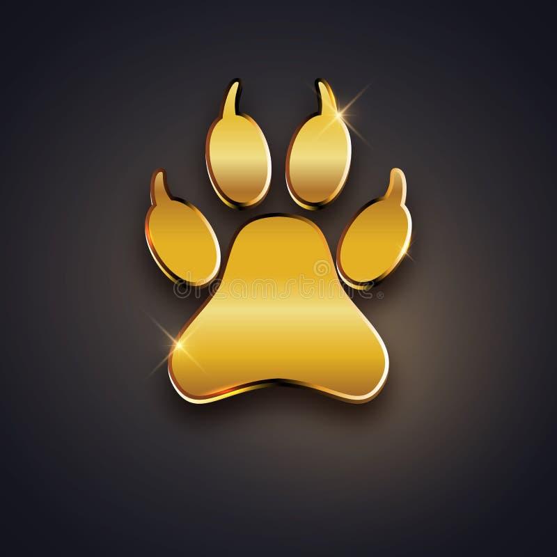 Ano novo do cartão do feriado do cão com pegada da pata, te do ouro ilustração do vetor