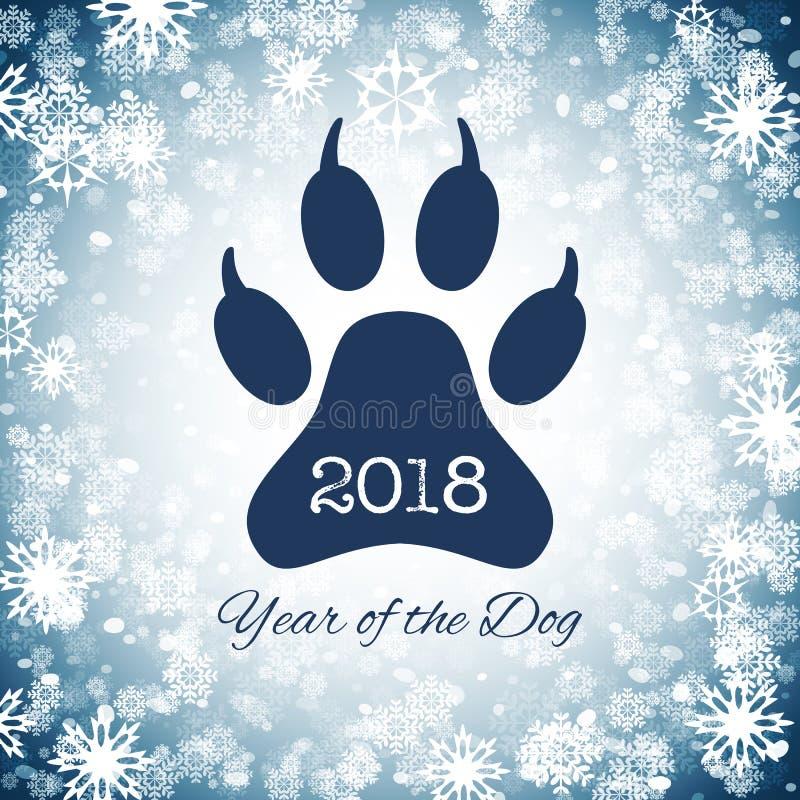 Ano novo do cartão do feriado do cão com pegada da pata, vetor ilustração royalty free
