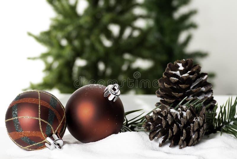 Ano novo do close up da quinquilharia da decoração da bola do Natal foto de stock