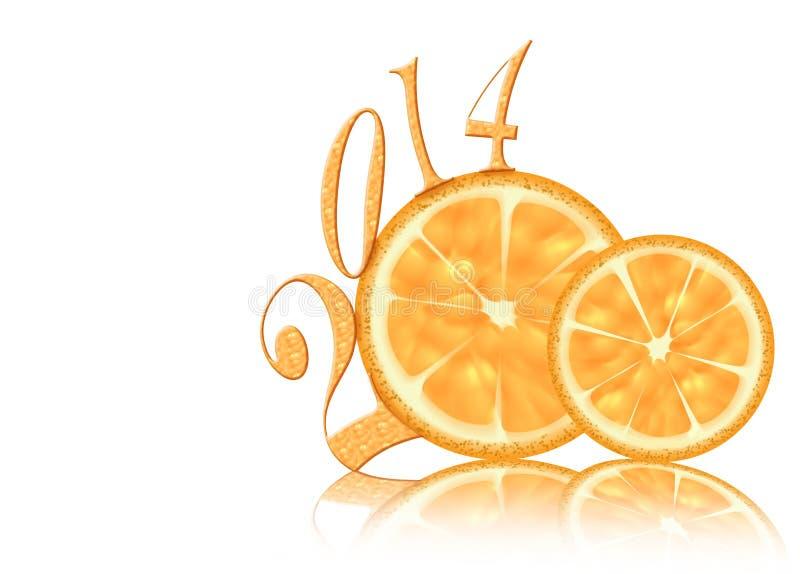 Ano novo 2014 do limão abstrato ilustração do vetor