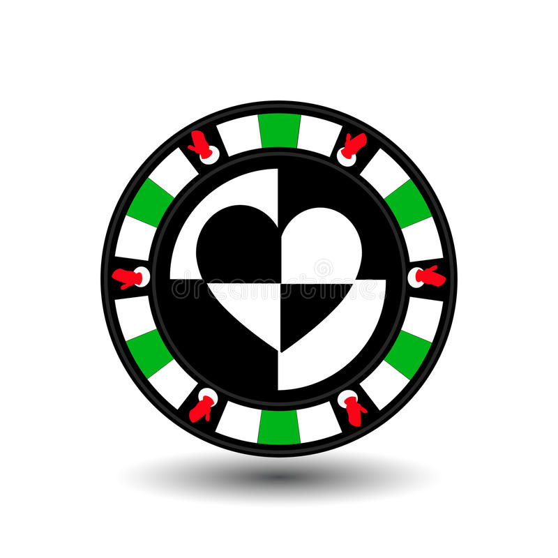 Ano novo do Natal do casino do pôquer da microplaqueta Ilustração EPS 10 do ícone em fácil branco separar o fundo uso para locais ilustração stock