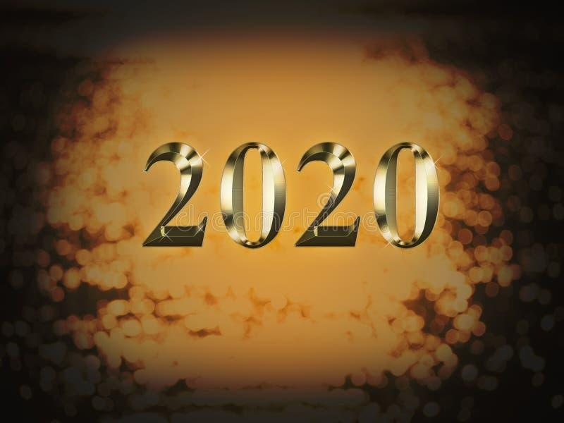 Ano novo do ouro 2020 luxuosos no fundo do bokeh do ouro Ano novo feliz 2020 ilustração royalty free