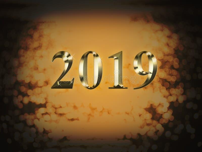 Ano novo do ouro 2019 luxuosos no fundo do bokeh do ouro Ano novo feliz 2019 ilustração royalty free