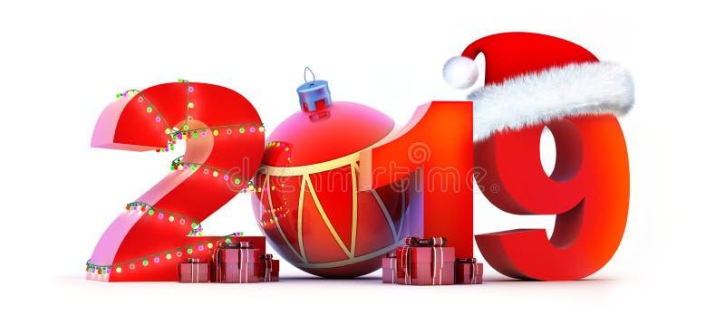 Ano novo 2019 do sinal no fundo branco ilustração stock