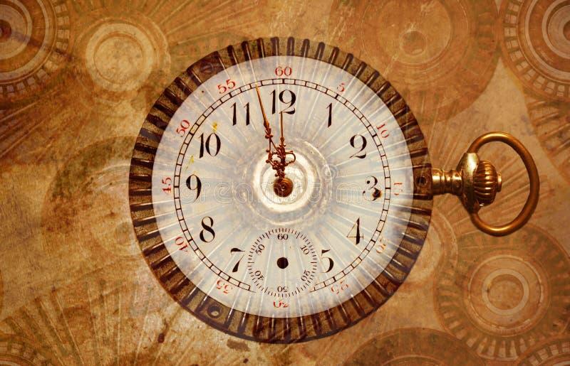 Ano novo do steampunk quase da meia-noite imagem de stock