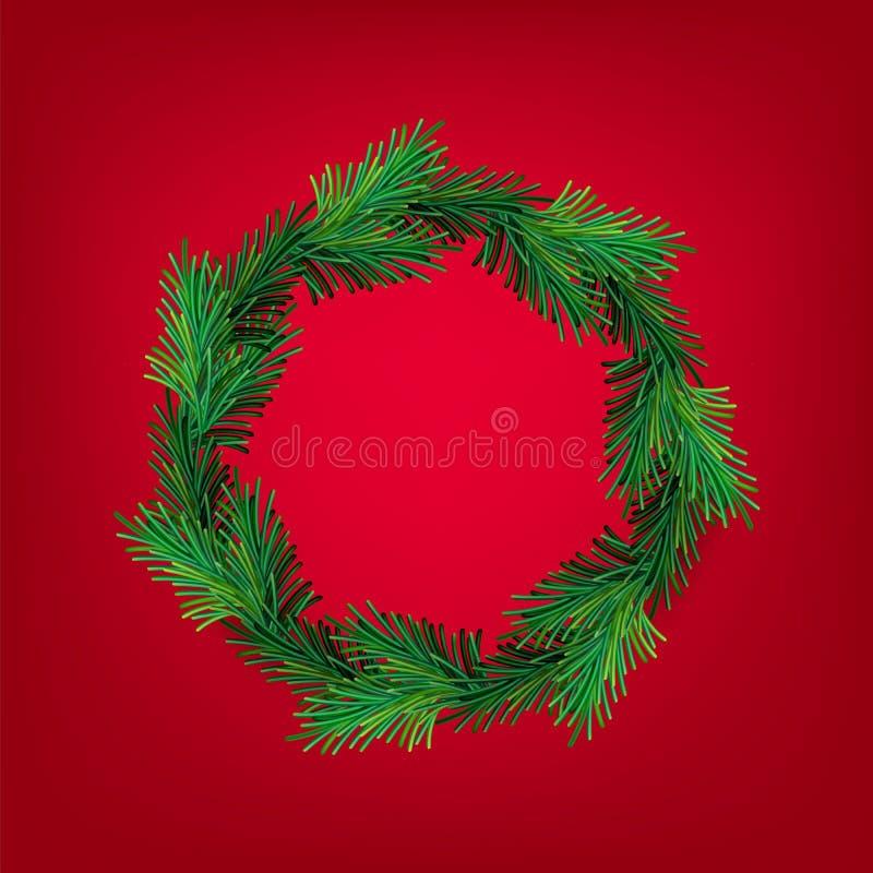 Ano novo do vetor e de grinalda do Natal malha Ramos verdes sempre-verdes do inverno tradicional, isolados no fundo vermelho Para ilustração stock
