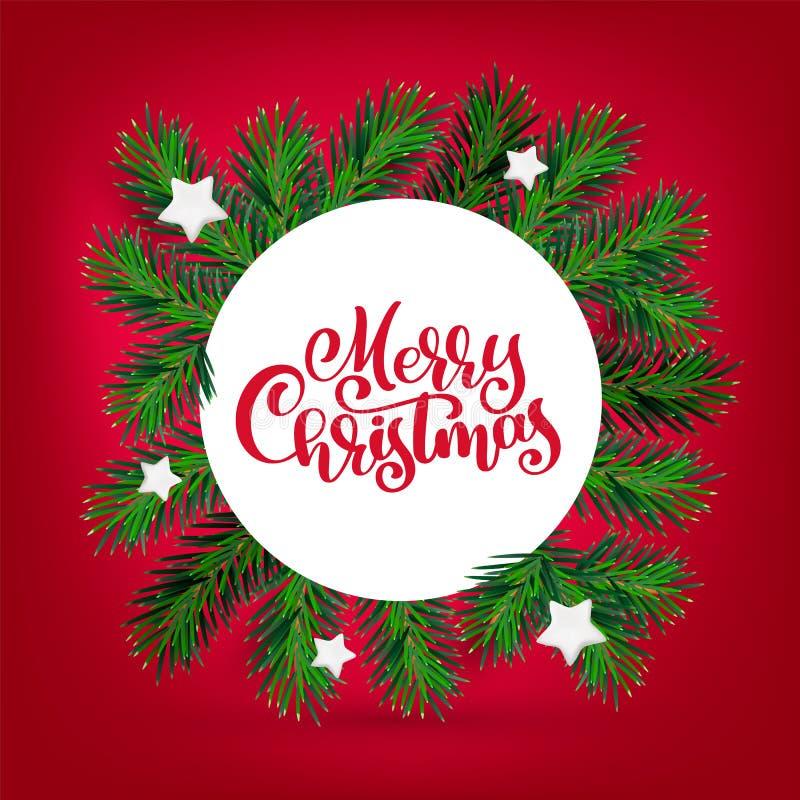 Ano novo do vetor e grinalda do Natal com texto do Feliz Natal da caligrafia Ramos verdes sempre-verdes e branco do inverno tradi ilustração do vetor
